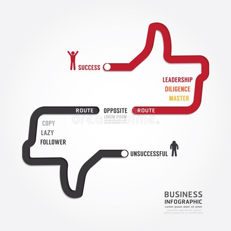 Επιχείρηση Infographic διαδρομή στο σχέδιο προτύπων έννοιας επιτυχίας διανυσματική απεικόνιση