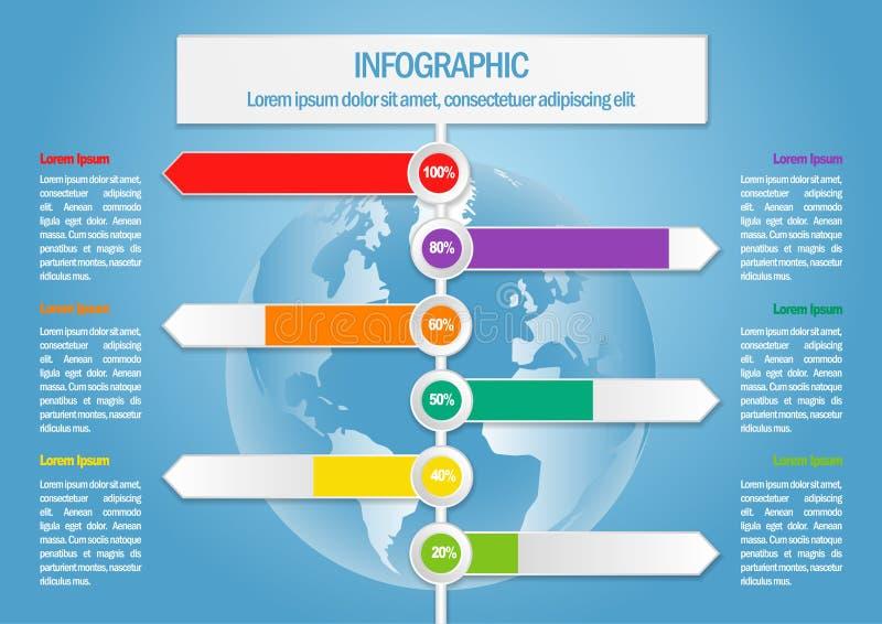 Επιχείρηση infographic με τον παγκόσμιο χάρτη και percents ελεύθερη απεικόνιση δικαιώματος