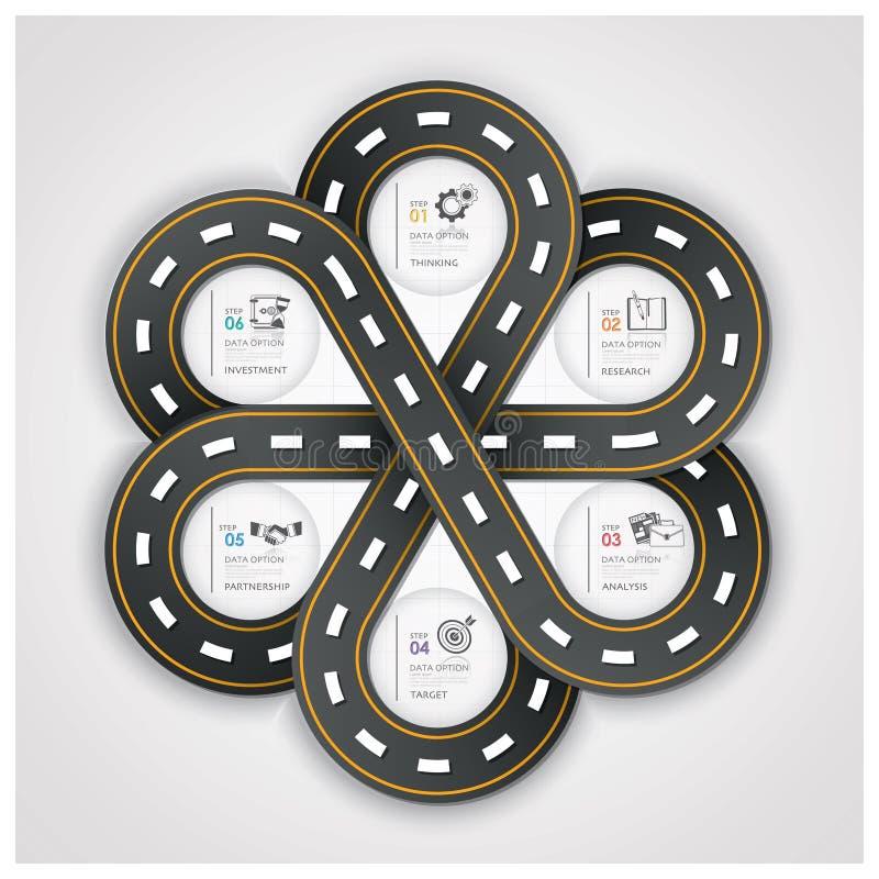 Επιχείρηση Infographic σημαδιών κυκλοφορίας δρόμων και οδών με την ύφανση του Γ ελεύθερη απεικόνιση δικαιώματος