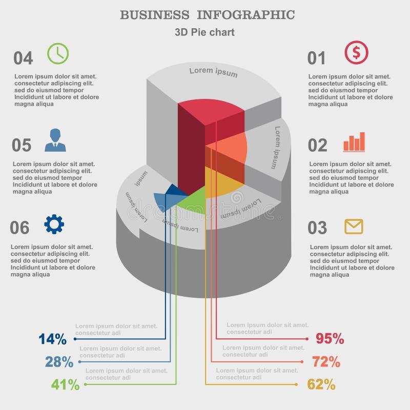 Επιχείρηση Infographic τρισδιάστατη πίτα διαγραμ&m Σχεδιάγραμμα για τις επιλογές ή τα βήματά σας διανυσματική απεικόνιση