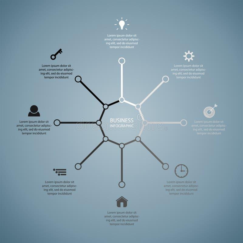 Επιχείρηση InfoGraphics, γεωμετρία, σχέδιο οκταγώνων, παρουσίαση μάρκετινγκ, έμβλημα τμημάτων απεικόνιση αποθεμάτων