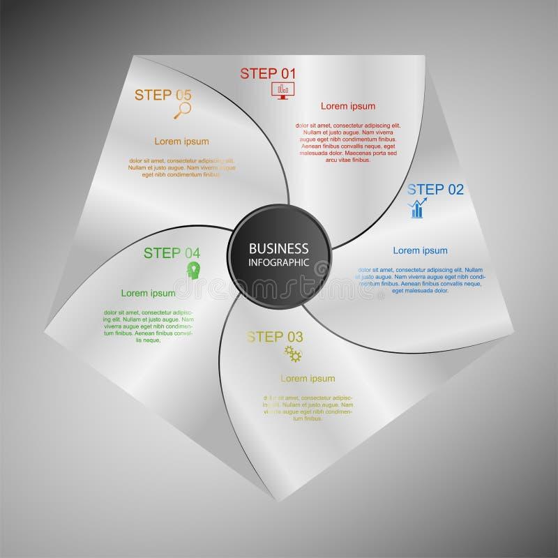 Επιχείρηση InfoGraphics, γεωμετρία, σχέδιο Πενταγώνου, παρουσίαση μάρκετινγκ, έμβλημα τμημάτων διανυσματική απεικόνιση