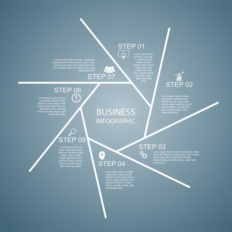Επιχείρηση InfoGraphics, γεωμετρία, σχέδιο Heptagon, παρουσίαση μάρκετινγκ, έμβλημα τμημάτων ελεύθερη απεικόνιση δικαιώματος