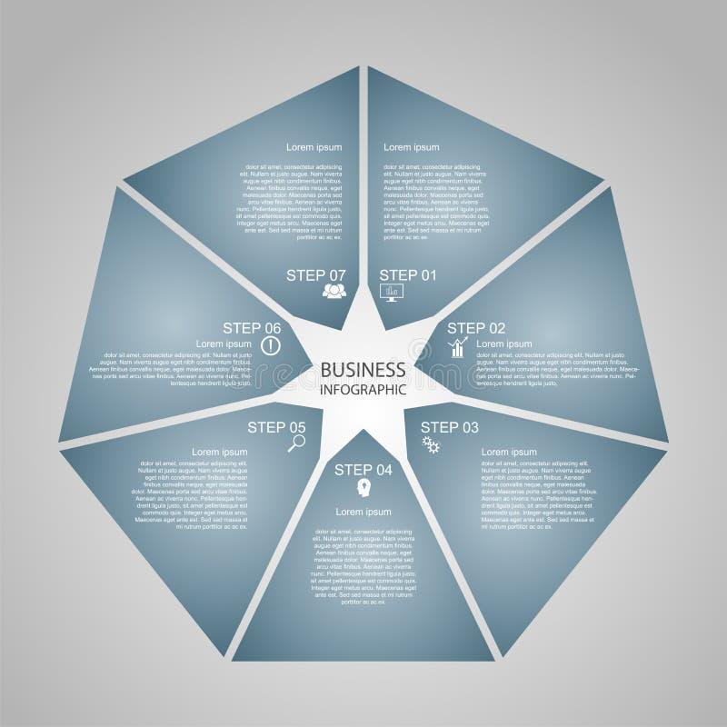 Επιχείρηση InfoGraphics, γεωμετρία, σχέδιο Heptagon, παρουσίαση μάρκετινγκ, έμβλημα τμημάτων απεικόνιση αποθεμάτων