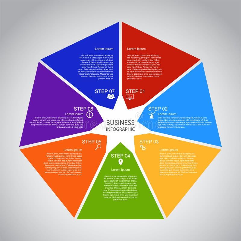 Επιχείρηση InfoGraphics, γεωμετρία, σχέδιο Heptagon, παρουσίαση μάρκετινγκ, έμβλημα τμημάτων διανυσματική απεικόνιση