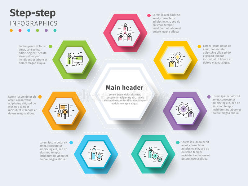 Επιχείρηση 7 infographics διαγραμμάτων διαδικασίας βημάτων με τους κύκλους βημάτων BR διανυσματική απεικόνιση