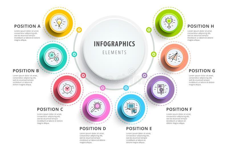 Επιχείρηση 8 infographics διαγραμμάτων διαδικασίας βημάτων με τους κύκλους βημάτων CI διανυσματική απεικόνιση