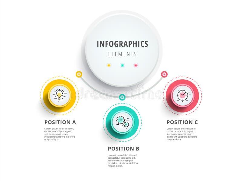 Επιχείρηση 3 infographics διαγραμμάτων διαδικασίας βημάτων με τους κύκλους βημάτων CI ελεύθερη απεικόνιση δικαιώματος