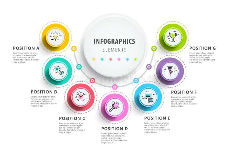 Επιχείρηση 7 infographics διαγραμμάτων διαδικασίας βημάτων με τους κύκλους βημάτων CI διανυσματική απεικόνιση
