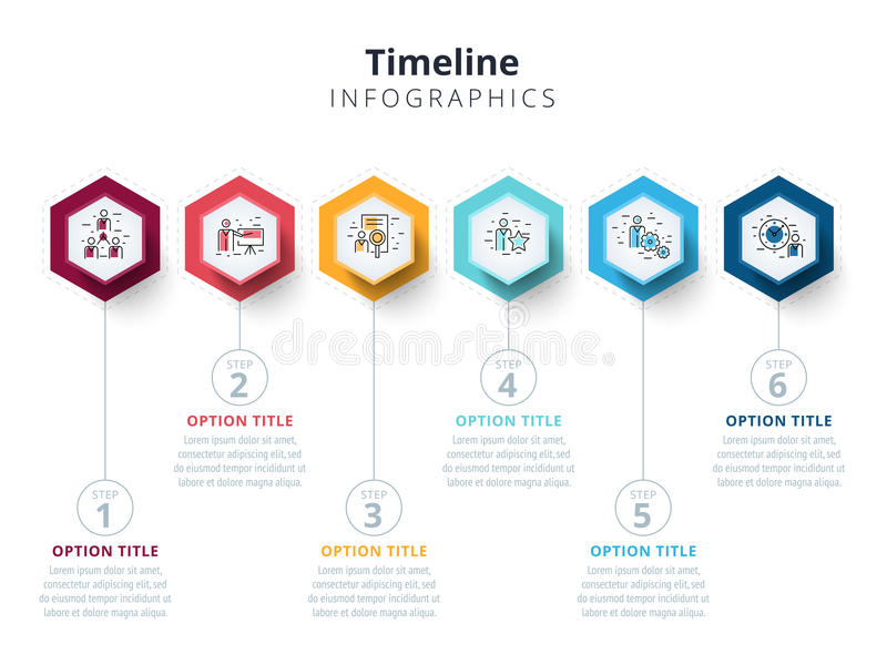 Επιχείρηση 6 infographics διαγραμμάτων διαδικασίας βημάτων με τους κύκλους βημάτων ελεύθερη απεικόνιση δικαιώματος