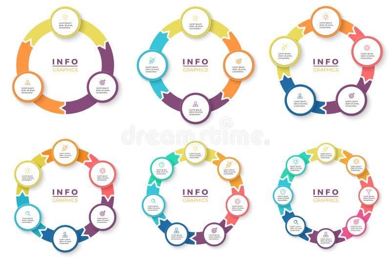 Επιχείρηση Infographics Κυκλικά βέλη με 3 - 8 μέρη ελεύθερη απεικόνιση δικαιώματος
