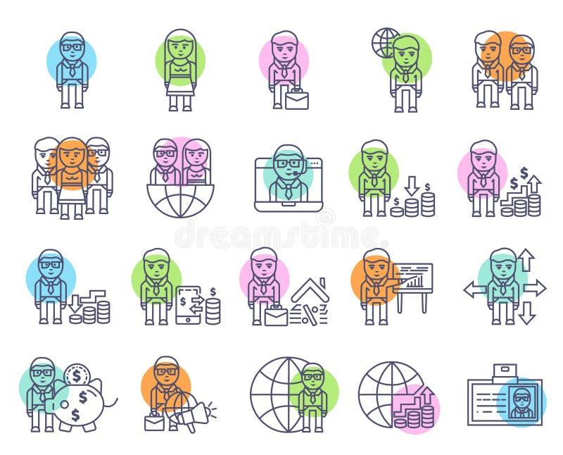 Επιχειρήσεων και χρηματοδότησης σημάδι και σύμβολο εικονιδίων καθορισμένο ελεύθερη απεικόνιση δικαιώματος