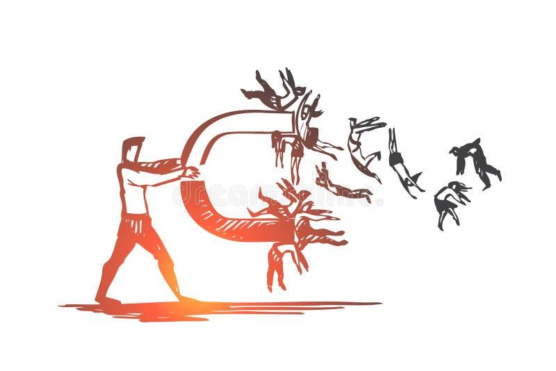 Επιχειρηματίας, άνθρωποι, μαγνήτης, έννοια πλήθους Συρμένο χέρι απομονωμένο διάνυσμα διανυσματική απεικόνιση