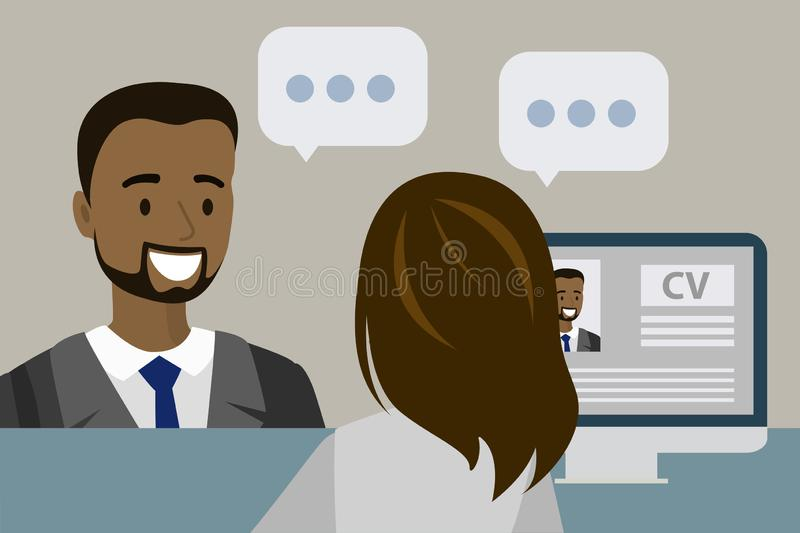 Επιχειρηματίας ή εργαζόμενος γραφείων που έχει μια συνέντευξη εργασίας στο γραφείο ελεύθερη απεικόνιση δικαιώματος