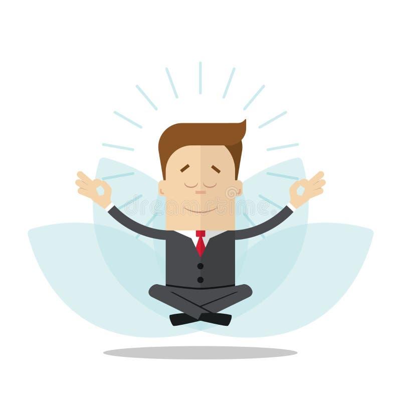 Επιχειρηματίας ή διευθυντής κινούμενων σχεδίων meditates στη θέση λωτού η ανασκόπηση απομόνωσε το λευκό ελεύθερη απεικόνιση δικαιώματος
