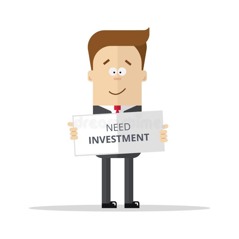 Επιχειρηματίας ή διευθυντής με ένα σημάδι για την επένδυση ανάγκης απεικόνιση αποθεμάτων