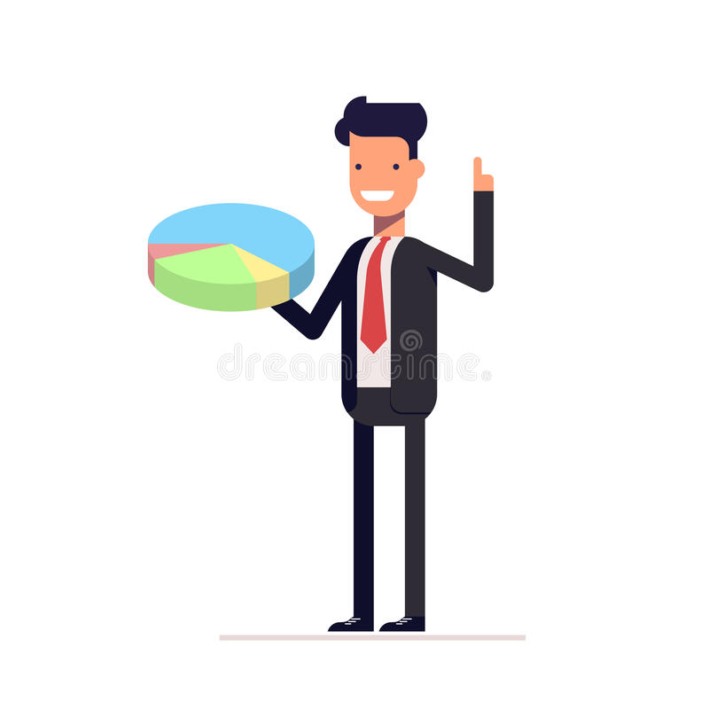 Επιχειρηματίας ή διευθυντής με το διάγραμμα πιτών υπό εξέταση Το άτομο σε ένα επιχειρησιακό κοστούμι παρουσιάζει τη γραφική παράσ ελεύθερη απεικόνιση δικαιώματος