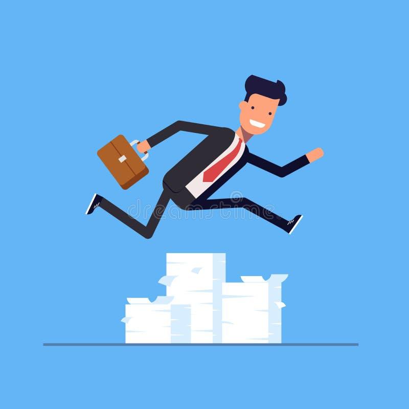 Επιχειρηματίας ή διευθυντής που πηδά πέρα από τα εμπόδια ελεύθερη απεικόνιση δικαιώματος