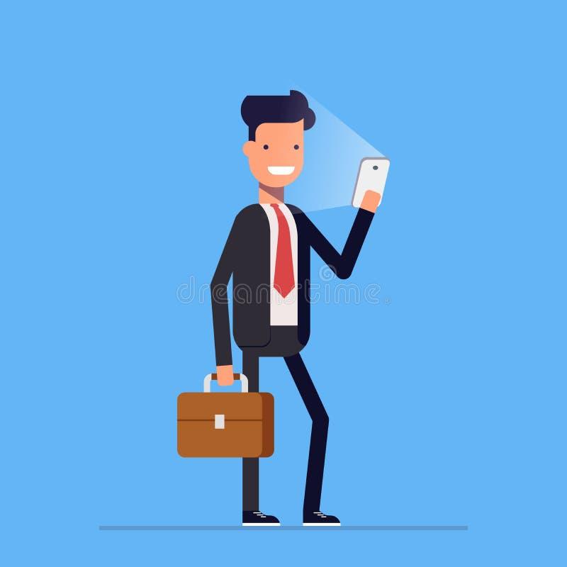 Επιχειρηματίας ή διευθυντής που στέκεται με το τηλέφωνο και το χαρτοφύλακα Ευτυχές άτομο σε ένα επιχειρησιακό κοστούμι Διάνυσμα,  διανυσματική απεικόνιση