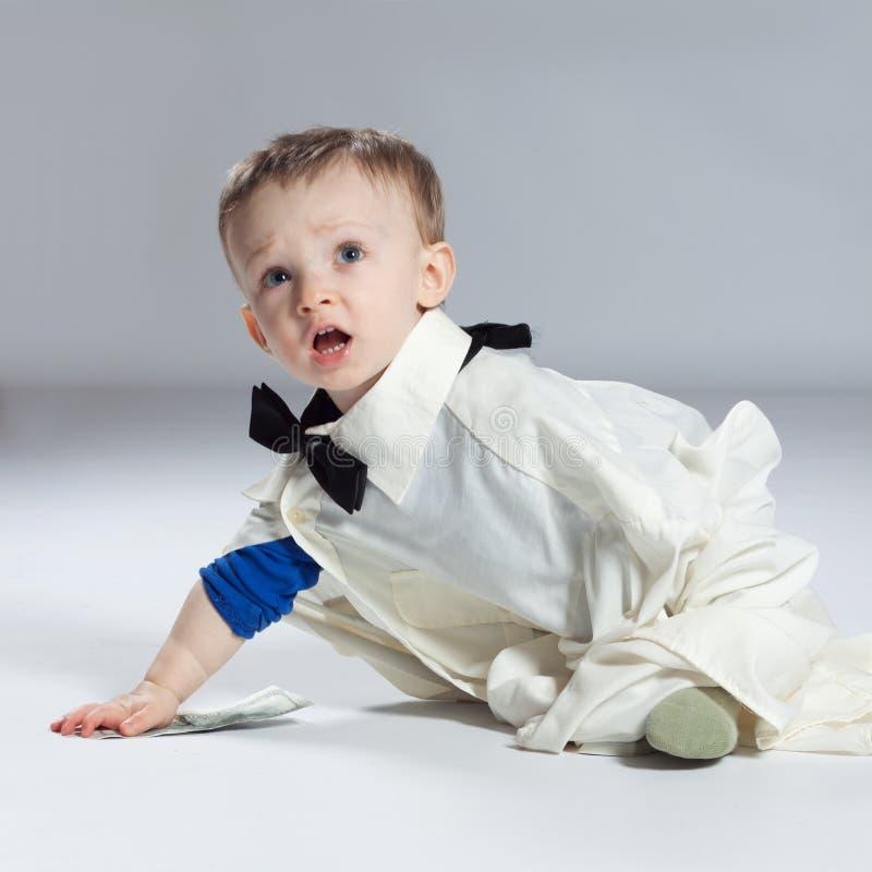 Επιχειρηματίας αγοριών μικρών παιδιών στοκ φωτογραφία