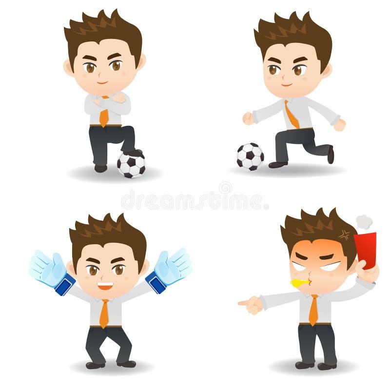 Επιχειρηματίας απεικόνισης κινούμενων σχεδίων με το ποδόσφαιρο ελεύθερη απεικόνιση δικαιώματος