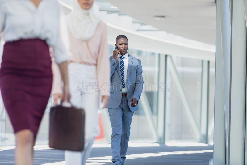 Επιχειρηματίας αφροαμερικάνων που περπατά στο διάδρομο μιλώντας στο κινητό τηλέφωνο στο σύγχρονο γραφείο στοκ εικόνα