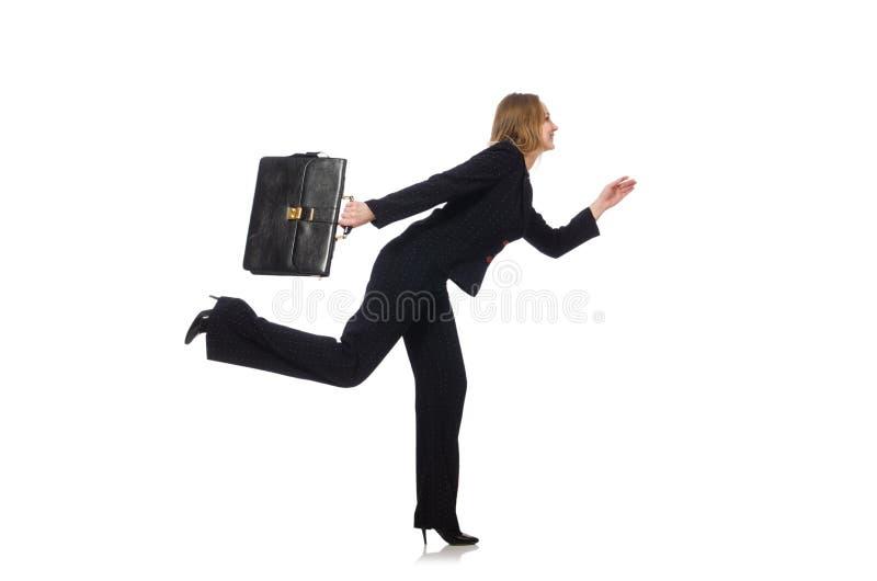 Download Επιχειρηματίας γυναικών με το χαρτοφύλακα που απομονώνεται επάνω Στοκ Εικόνα - εικόνα από καθυστερημένος, εταιρικός: 62710157