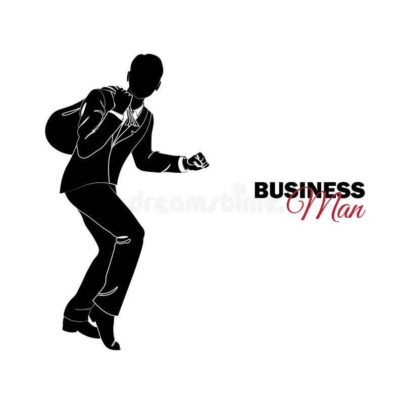 Επιχειρηματίας, διευθυντής κοστούμι επιχειρησιακών Ένας επιχειρηματίας κλέβει με μια τσάντα απεικόνιση αποθεμάτων