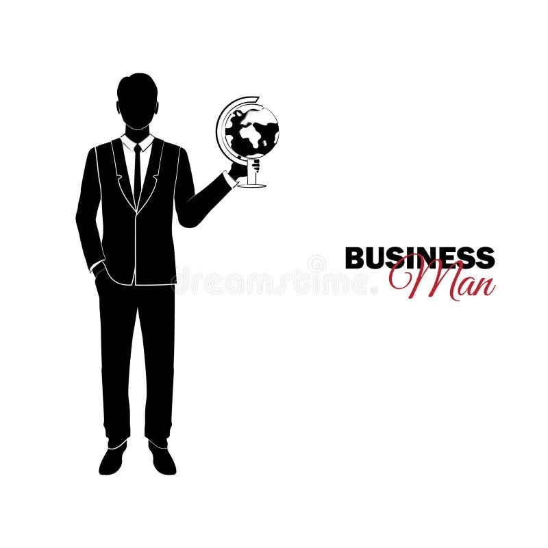 Επιχειρηματίας, διευθυντής κοστούμι επιχειρησιακών Επιχειρηματίας με μια σφαίρα ελεύθερη απεικόνιση δικαιώματος