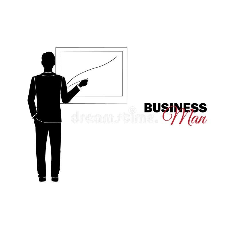 Επιχειρηματίας, διευθυντής κοστούμι επιχειρησιακών Ο επιχειρηματίας σύρει ελεύθερη απεικόνιση δικαιώματος