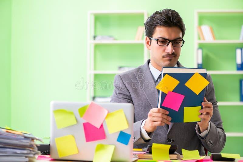 Επιχειρηματίας δυστυχισμένος με πολλές συγκρουόμενες προτεραιότητες που κάθονται μέσα στοκ εικόνες