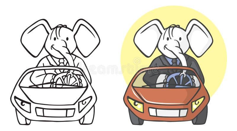 Επιχειρηματίας ελεφάντων στο αυτοκίνητο ελεύθερη απεικόνιση δικαιώματος
