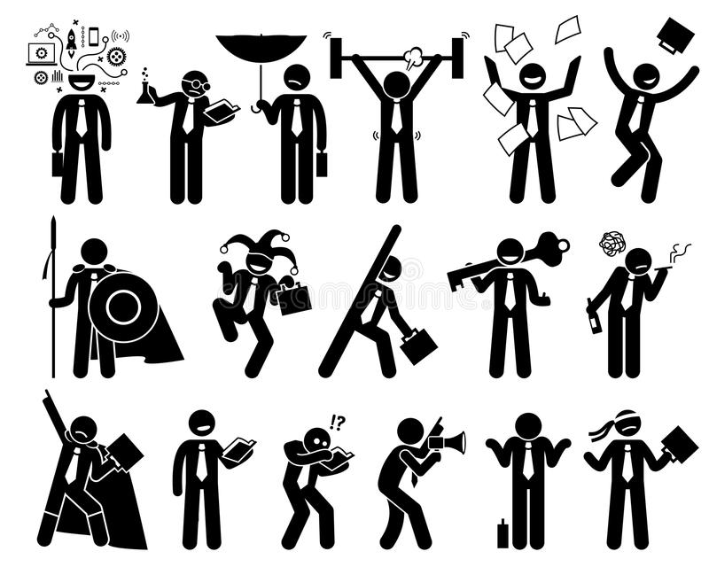 Επιχειρηματίας επιχειρηματιών που κάνει τις διάφορες δραστηριότητες διανυσματική απεικόνιση