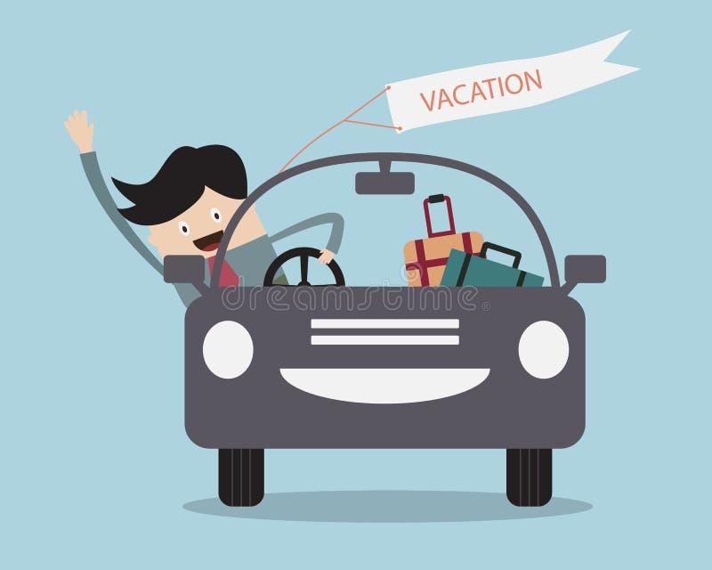 Επιχειρηματίας ευτυχής στο αυτοκίνητο στις διακοπές του απεικόνιση αποθεμάτων