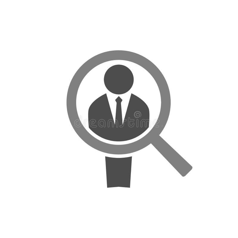 Επιχειρηματίας και ένας πιό magnifier Εικονίδιο έννοιας προσλήψεων υπαλλήλων Αριθμός και ενίσχυση ατόμων - εικονίδιο γυαλιού Πρόσ απεικόνιση αποθεμάτων