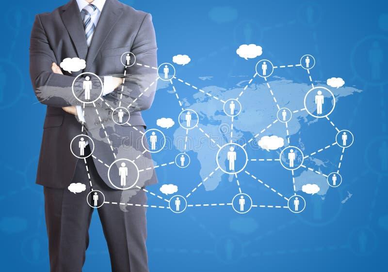 Επιχειρηματίας και δίκτυο των επαφών διανυσματική απεικόνιση