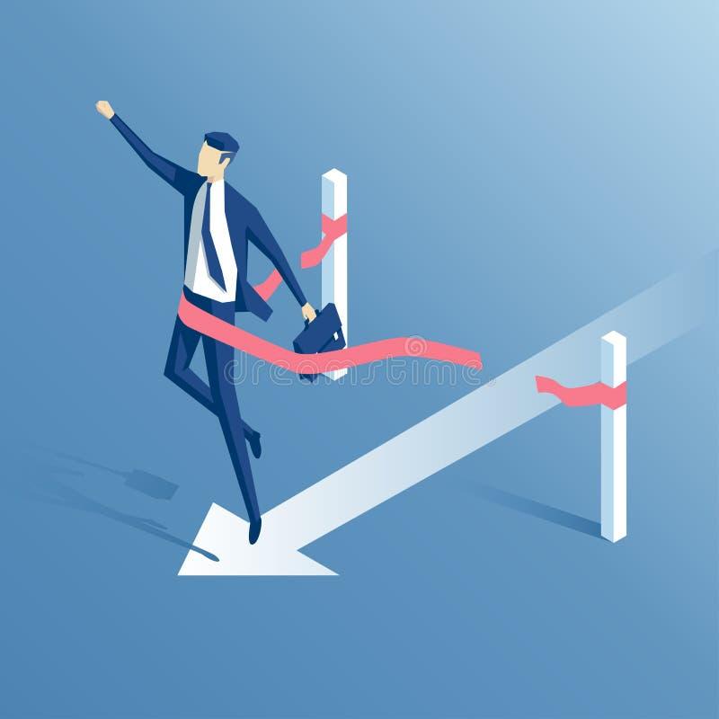 Επιχειρηματίας και γραμμή τερματισμού διανυσματική απεικόνιση