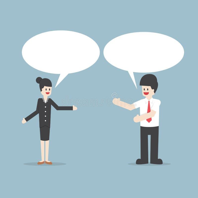 Επιχειρηματίας και γυναίκα που μιλούν με τις λεκτικές φυσαλίδες απεικόνιση αποθεμάτων