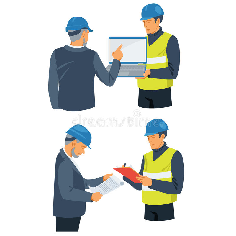 Επιχειρηματίας και επιστάτης που συμμετέχουν στο κατασκευαστικό πρόγραμμα απεικόνιση αποθεμάτων