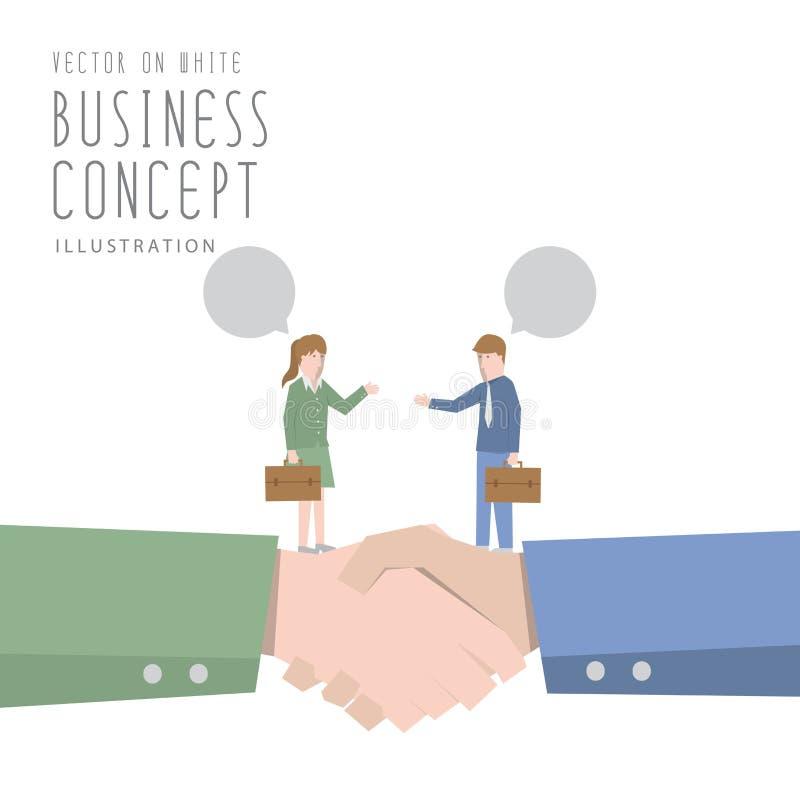 Επιχειρηματίας και ομιλίας και συμφωνίας επιχειρηματιών επιχειρησιακό fla διανυσματική απεικόνιση