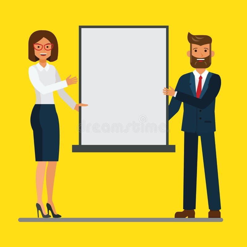 Επιχειρηματίας και επιχειρηματίας που κάνουν μια παρουσίαση σε μια συνεδρίαση των διασκέψεων Διανυσματική επίπεδη έννοια απεικόνι διανυσματική απεικόνιση