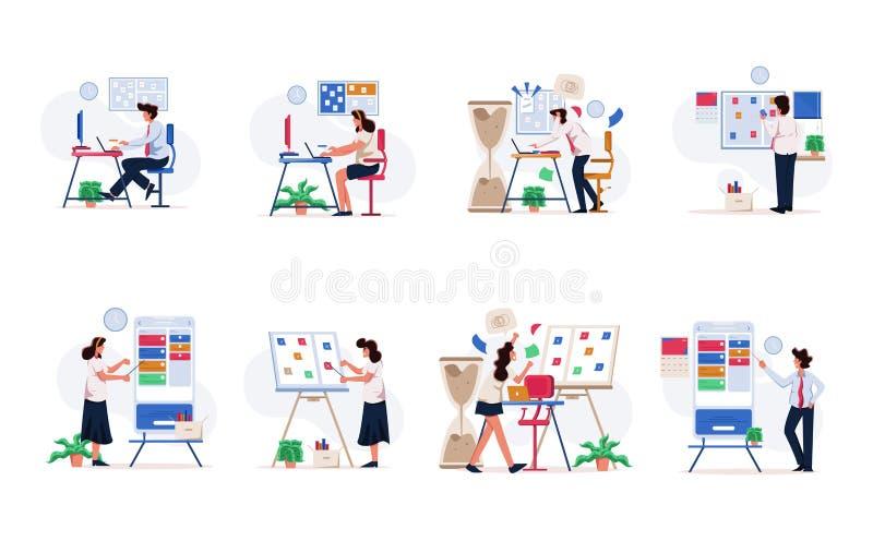 Επιχειρηματίας και επιχειρηματίας που οργανώνουν το σύνολο απεικόνισης στόχου Σύγχρονη επίπεδη έννοια σχεδίου για τον ιστοχώρο κα ελεύθερη απεικόνιση δικαιώματος