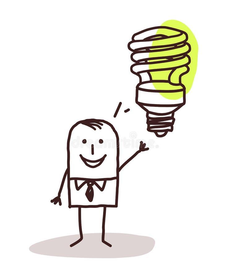 Επιχειρηματίας και πράσινη ιδέα απεικόνιση αποθεμάτων