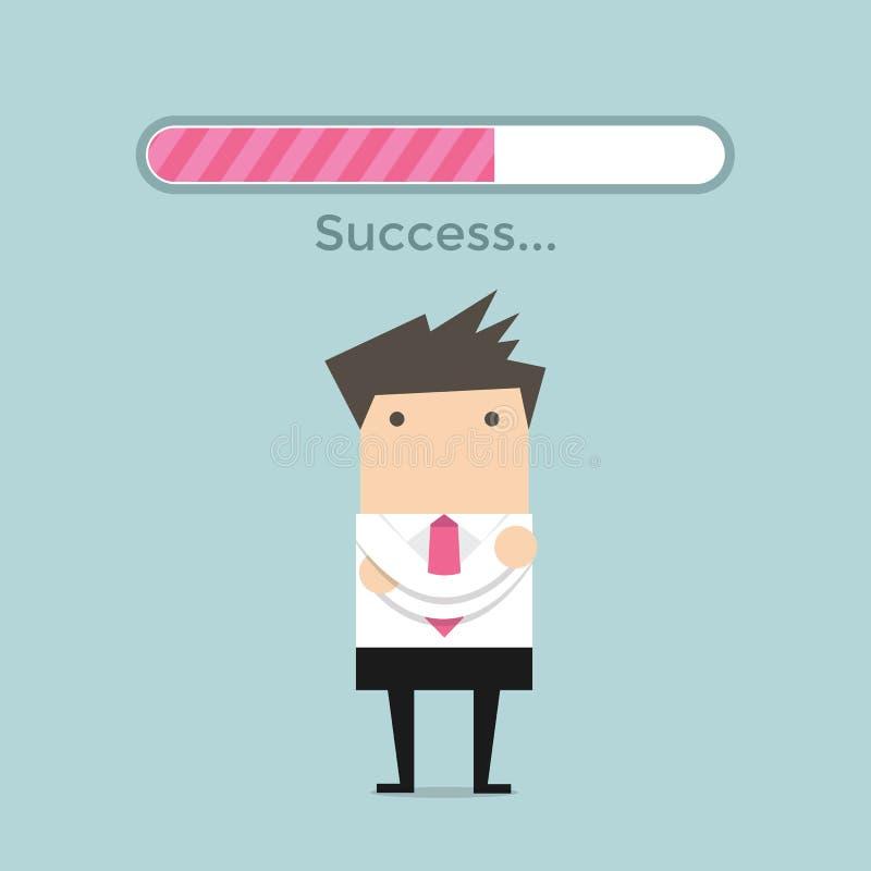 Επιχειρηματίας και φραγμός φόρτωσης επιτυχίας απεικόνιση αποθεμάτων