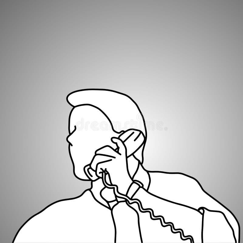 Επιχειρηματίας κινηματογραφήσεων σε πρώτο πλάνο που χρησιμοποιεί την αναδρομική τηλεφωνική διανυσματική απεικόνιση δ ελεύθερη απεικόνιση δικαιώματος