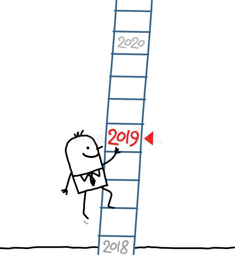 Επιχειρηματίας κινούμενων σχεδίων που πηγαίνει επάνω έως 2019 διανυσματική απεικόνιση