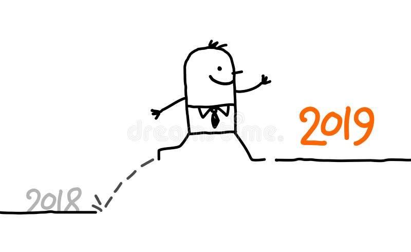 Επιχειρηματίας κινούμενων σχεδίων που πηδά έως το έτος 2019 απεικόνιση αποθεμάτων