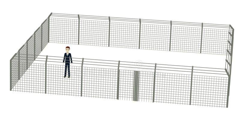 Επιχειρηματίας κινούμενων σχεδίων στη φραγή διανυσματική απεικόνιση
