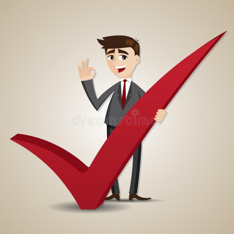 Επιχειρηματίας κινούμενων σχεδίων με το σωστό σημάδι διανυσματική απεικόνιση