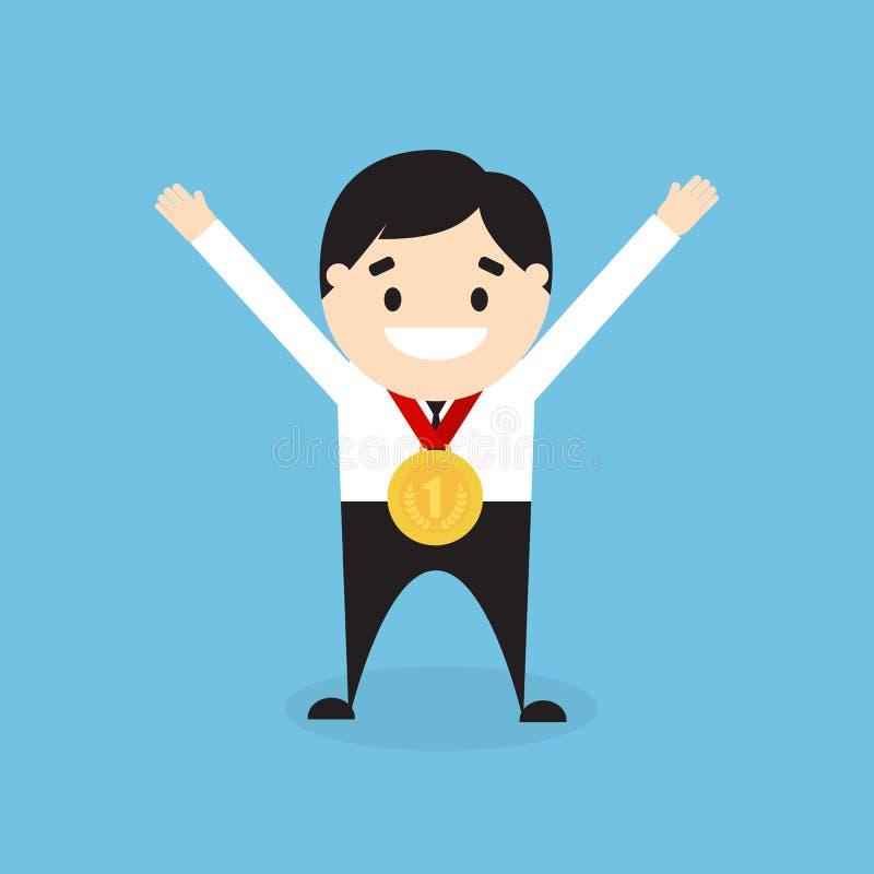 Επιχειρηματίας κινούμενων σχεδίων με το χρυσό μετάλλιο επίσης corel σύρετε το διάνυσμα απεικόνισης απεικόνιση αποθεμάτων